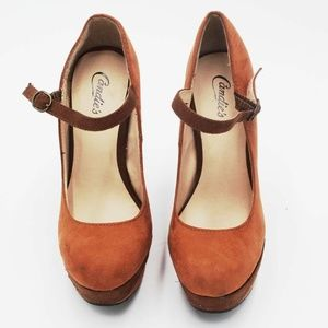Candie's Womens Mary Janes Orange Buckle Strap 6.5